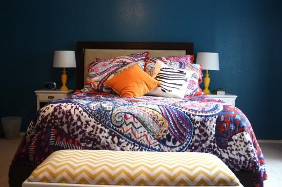 Shanti paisley bedding, peacock blue walls, yellow lamps