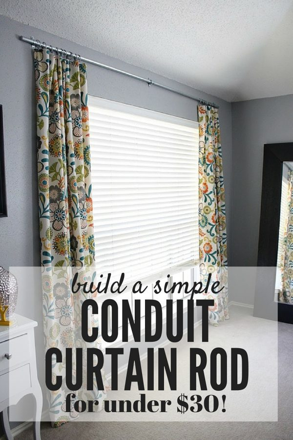 Curtain rods are so expensive - especially if you have large windows! This post will walk you through exactly how to make your own gorgeous, modern DIY conduit curtain rods for less than $30 for two giant windows!