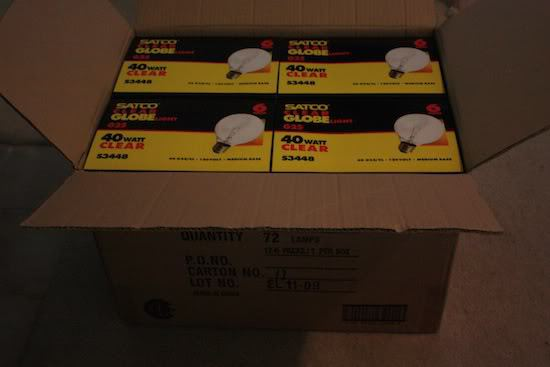 box of lights for DIY edison bulb chandelier