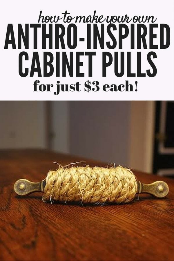 Hardware from Anthropologie is gorgeous, but expensive. With a little hot glue and patience, though, you can re-create these gorgeous nautical jute-wrapped cabinet pulls from Anthro for a fraction of what they cost at the store!