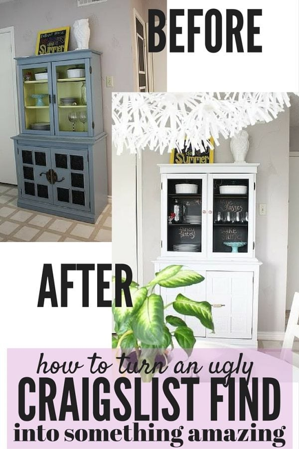 Do you ever wonder if you could take an ugly piece of furniture from Craigslist and turn it into something fabulous? This post will show you exactly how it's done - this china cabinet used to be absolutely horrible, but now it's beautiful...and all it took was some paint and creativity!