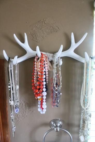 antler wall-hanging necklace holder