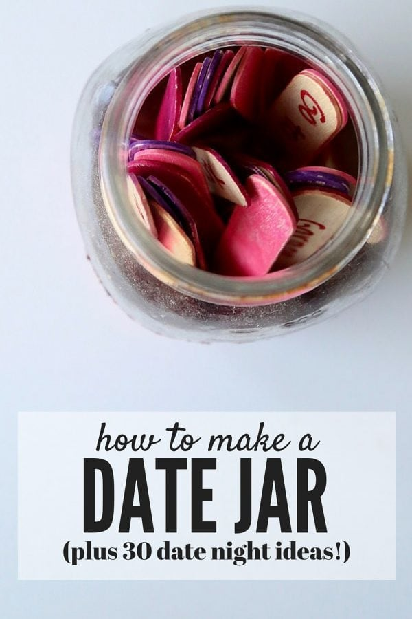 Ever get stuck in a rut on date ideas with your spouse? Here's an easy way to make a jar full of ideas for those nights where you just can't decide what to do. The post includes 30 ideas for dates, so the thinking is already done for you!