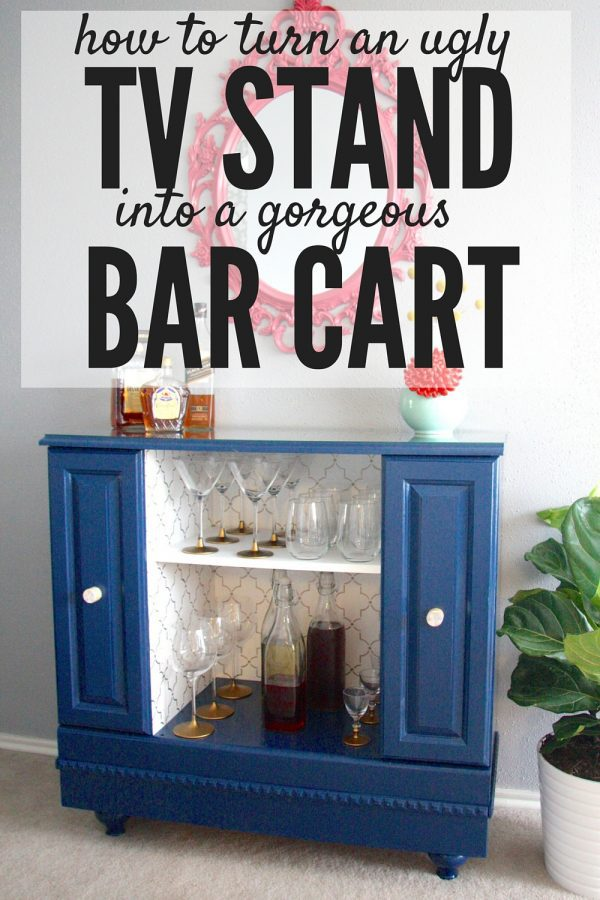 Love the look of bar carts but don't have the money to buy a new one? Here are the details on how to turn an outdated, 80's style television stand into the bar cart of your dreams!