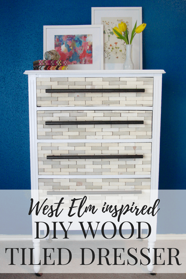 How to make a DIY West Elm-inspired wood tiled dresser. You can use any dresser you've got, and the results are beautiful!