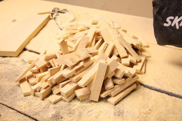 DIY wood tiled dresser