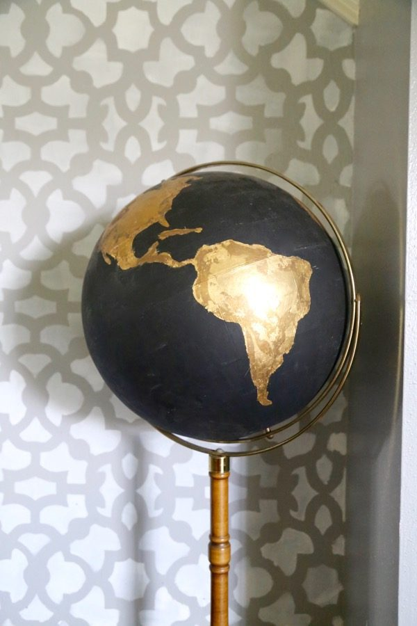 A DIY globe project - a cute black globe with gold accents