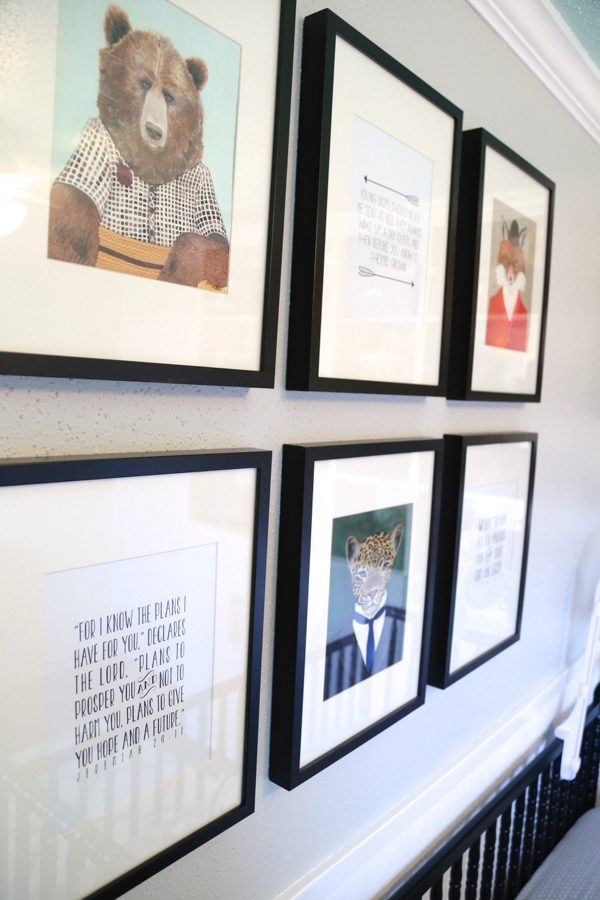 unisex nursery reveal - gallery wall