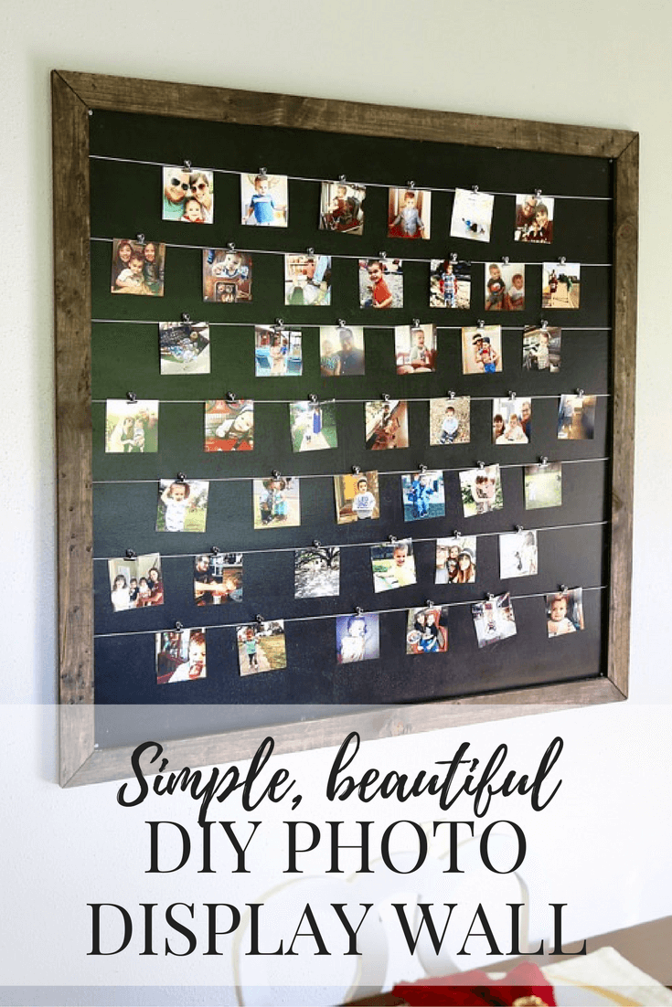 Gorgeous, simple, and easy DIY photo display for Instagram and family photos. Photos are clipped on so it's easy to change them anytime you want!