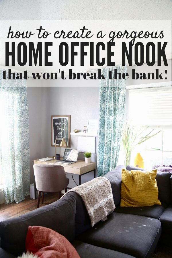 This home office nook is so gorgeous, simple, and affordable! Click through the post to see all of the sources and how to make a home office space of your own!