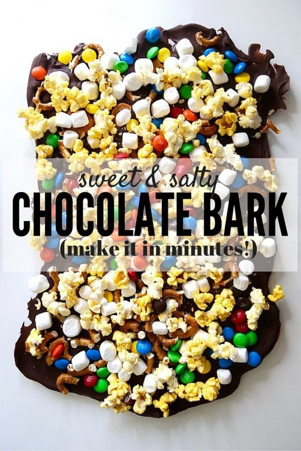 This sweet & salty chocolate bark is incredibly easy to make and it's beyond delicious. The recipe is flexible and you can basically add whatever you want! I promise, you'll want to try this!