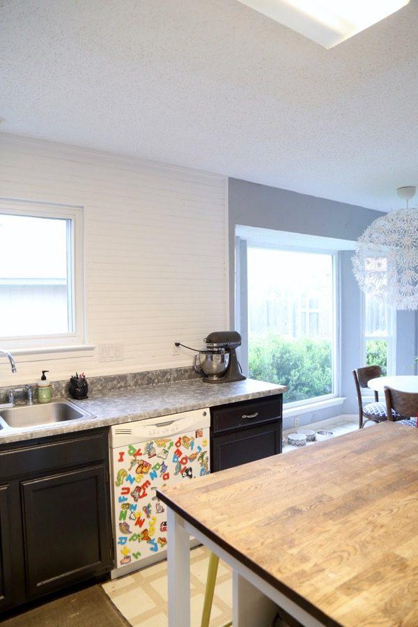 DIY Beadboard backsplash in kitchen