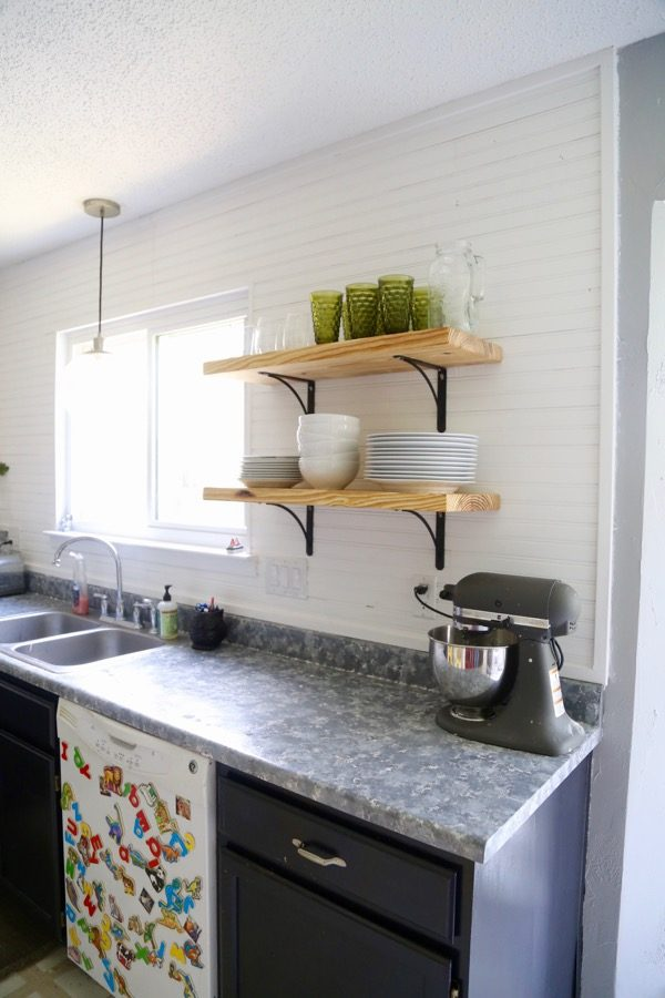 easy DIY open shelving