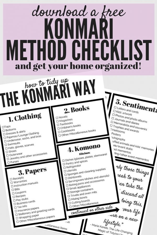 Do you find that you struggle to keep your home clean and organized? Are you always decluttering, only to start over again a few months later? Then maybe the KonMari method is for you! This post will show you how to use the tips and tricks from The Life-Changing Magic of Tidying Up to get your home clean and organized, once and for all! There's even a free printable checklist for the entire KonMari method, so you can be sure you don't miss a thing!