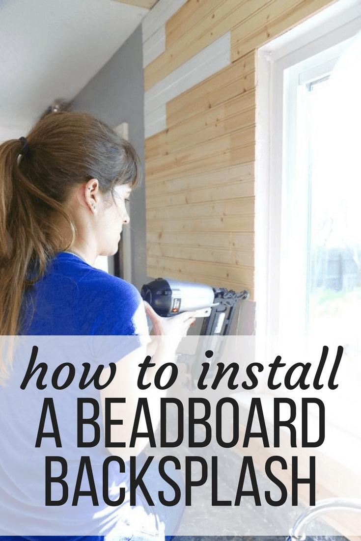 Installing DIY beadboard backsplash in the kitchen