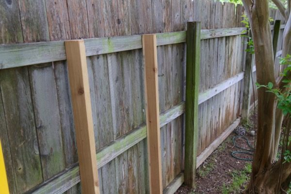 Fence with ledger boards attached
