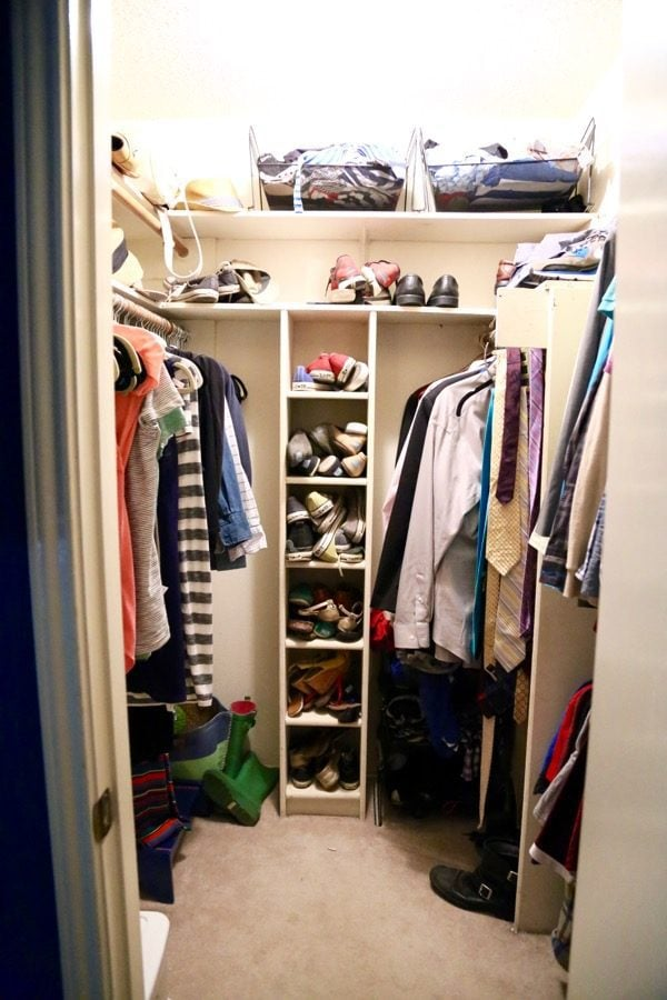 This master bedroom closet got a complete (gorgeous) overhaul in one weekend for less than $500! The end result is beautiful, organized, and completely functional.