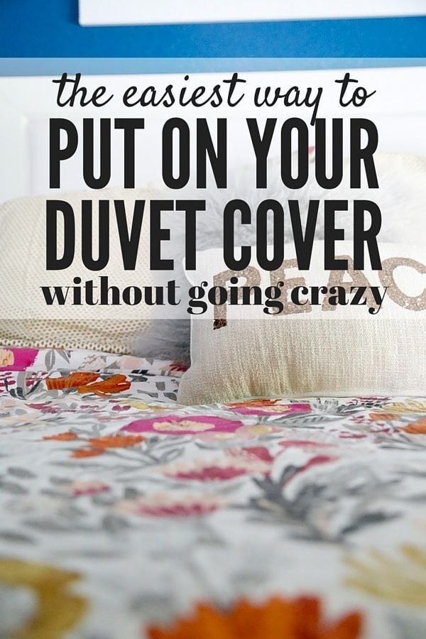 Do you dread washing your duvet because you know it's going to be impossible to put back on? I did too, until I learned this AMAZING trick for putting it on in two minutes or less! You can't miss this post!