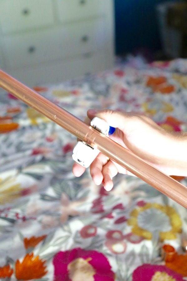 using a copper pipe to make a copper curtain rod