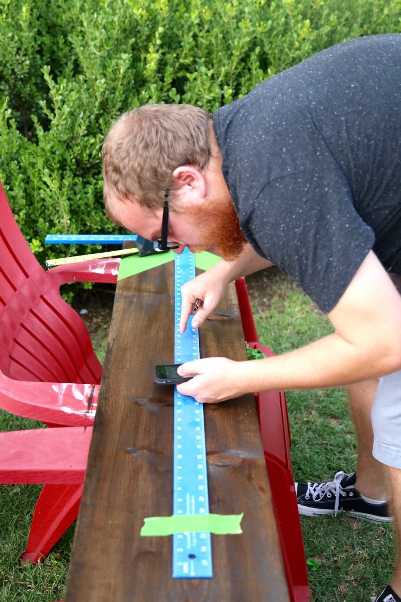 marking measurements for growth chart ruler