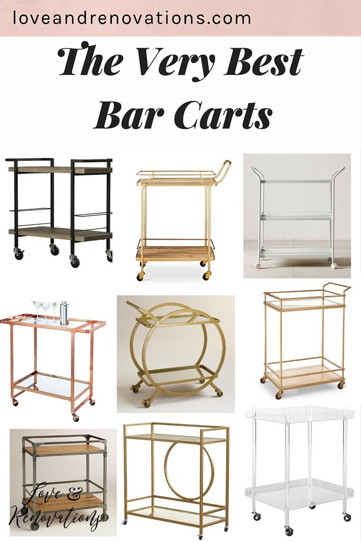 Bar carts are so functional and gorgeous - and very trendy right now! Here are 9 of the most gorgeous bar carts out there, and they're all under $300