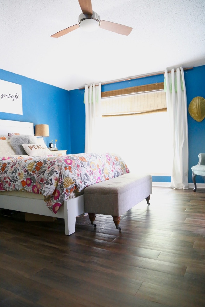 Vinyl plank flooring in the bedroom love renovations can you believe this flooring is peel and stick vinyl and costs under a jameslax Image collections