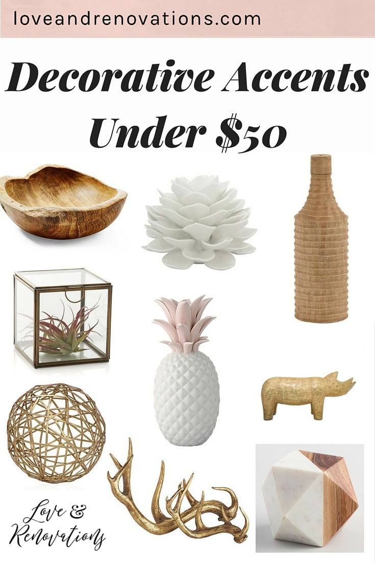 Styling your home can be tough - it's hard to find good decorative accents that are affordable and beautiful. Here's a roundup of 9 different decorative objects for the home that are all gorgeous, and all under $50!