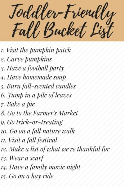 This list is the PERFECT fall bucket list! The ideas are all really fun, affordable, and totally achievable with a toddler in tow. This list will definitely help you make sure to soak up all of the fall fun!