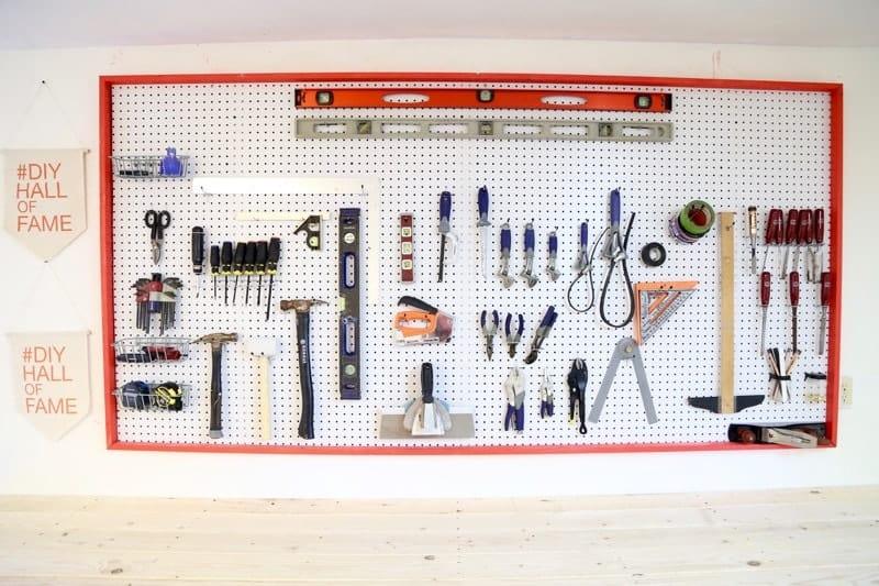 pegboard wall in workshop