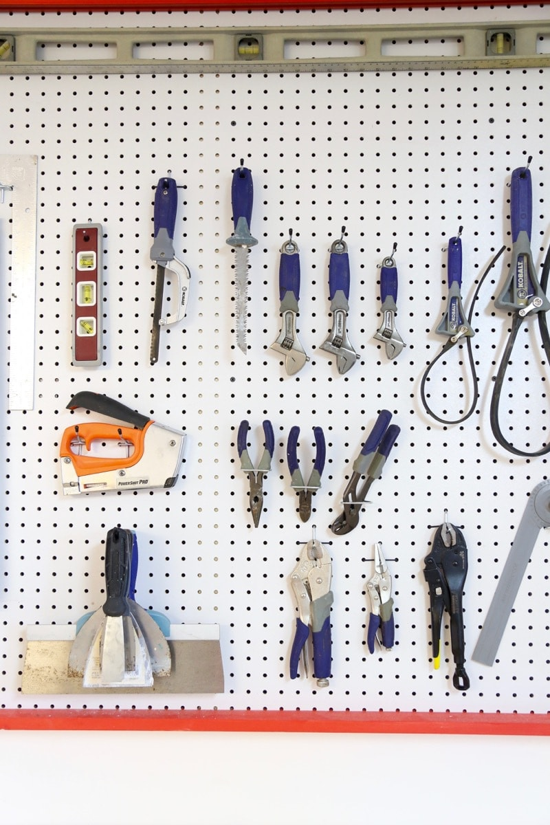 tools on giant pegboard wall