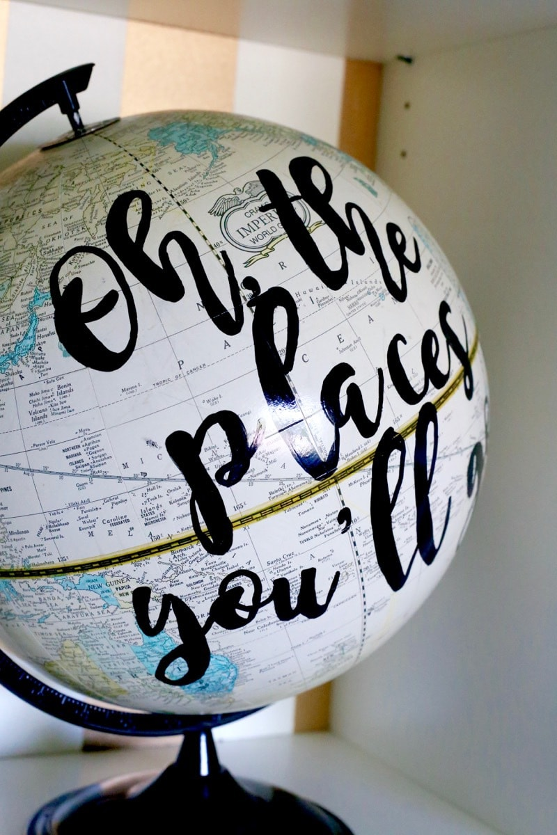 I LOVE this globe art! It's so cute and so incredibly easy to make! Learn how to make your own in under and hour and for just a couple of bucks - this is seriously one of the simplest DIY projects ever!