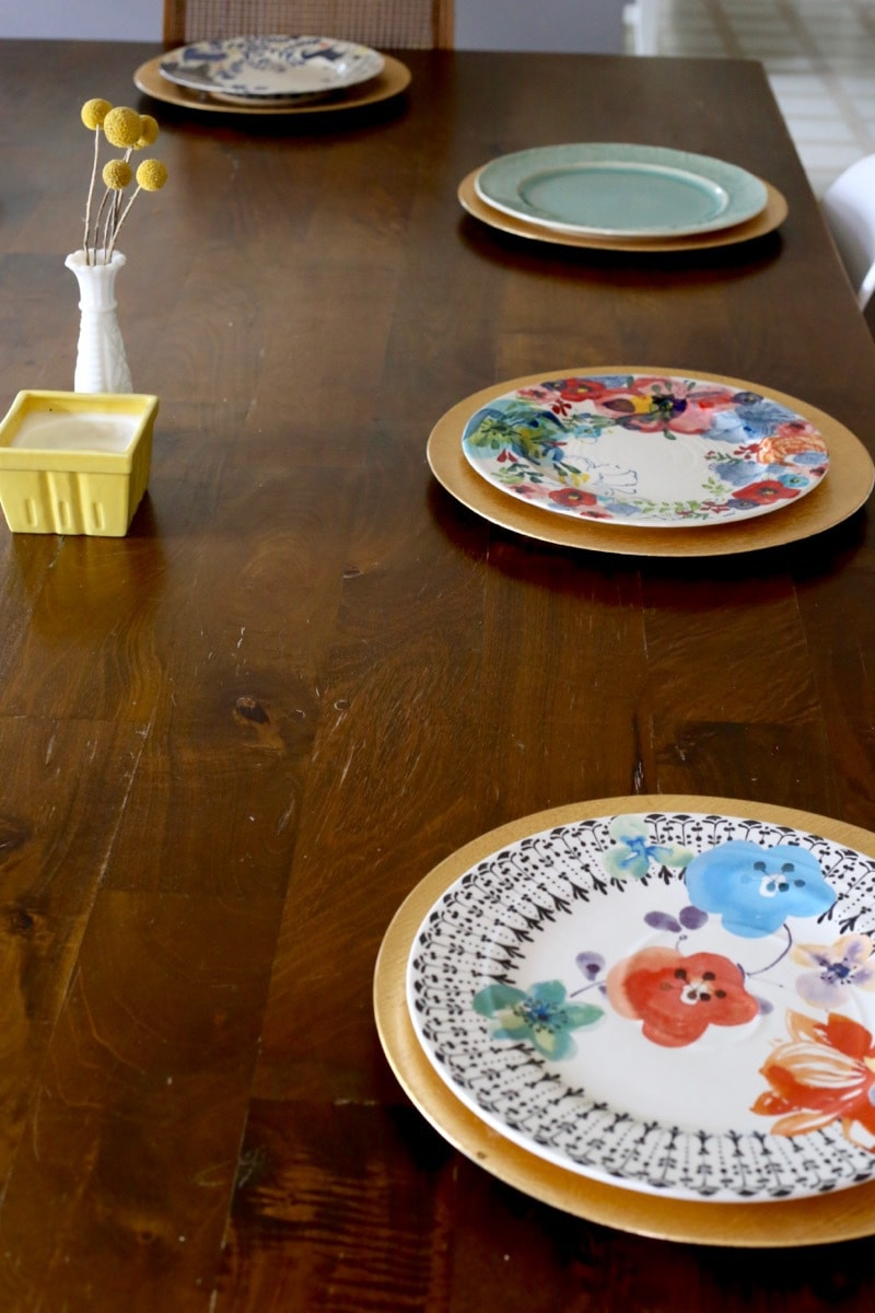 Inspiration for a gorgeous mismatched table setting using different patterns of dishes from Anthropologie