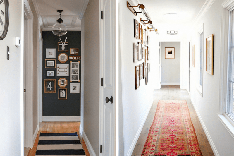 Collage of 2 hallway images - the left side has a black accent wall with a gallery wall and the right side has a large gallery wall with a pink runner