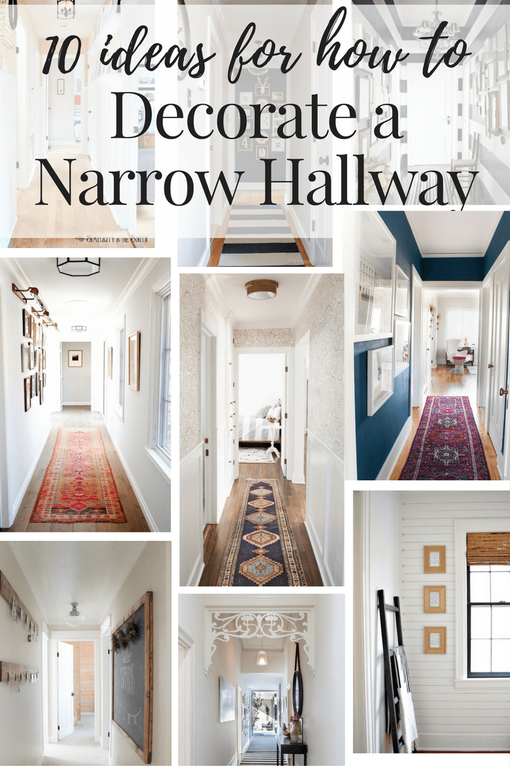Collage of 9 hallway images with text overlay stating that the post has 10 hallway decorating