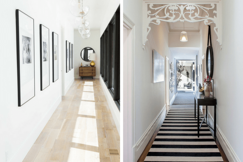 Collage of two images of narrow hallways. The right side has large-scale on one wall and the right side has a bold striped runner