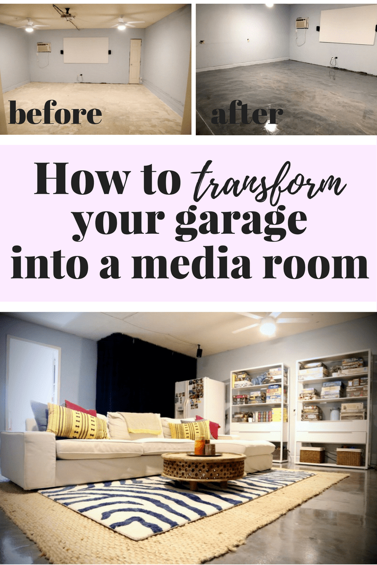 This is awesome! You can turn your garage into a super relaxing media room - it's not that hard! And the flooring in here is such a unique solution for upgrading concrete floors on your own!