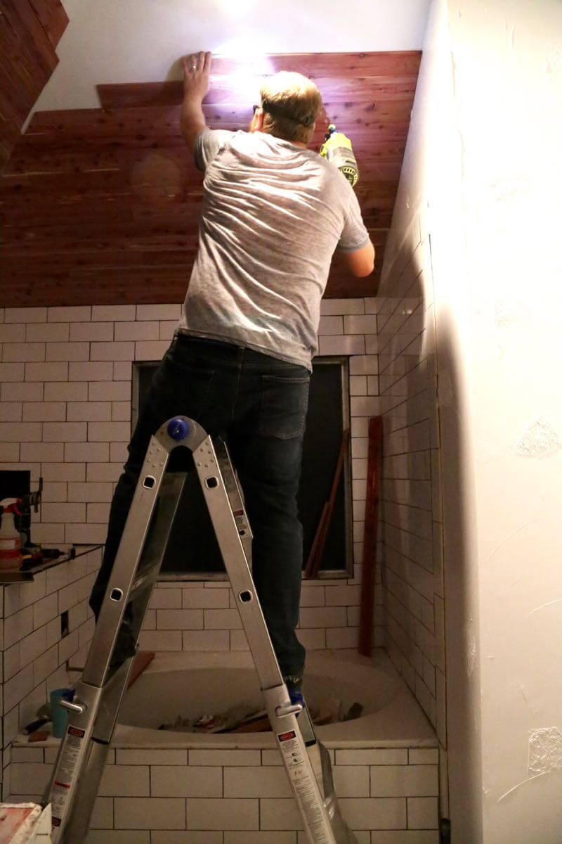 installing a planked cedar ceiling