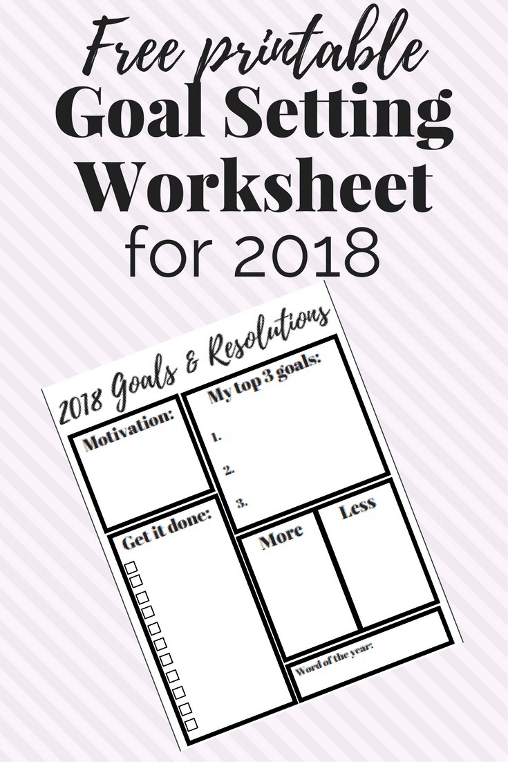 A free printable goal setting worksheet for the new year. This will help you set goals, stay motivated, and stay on track!