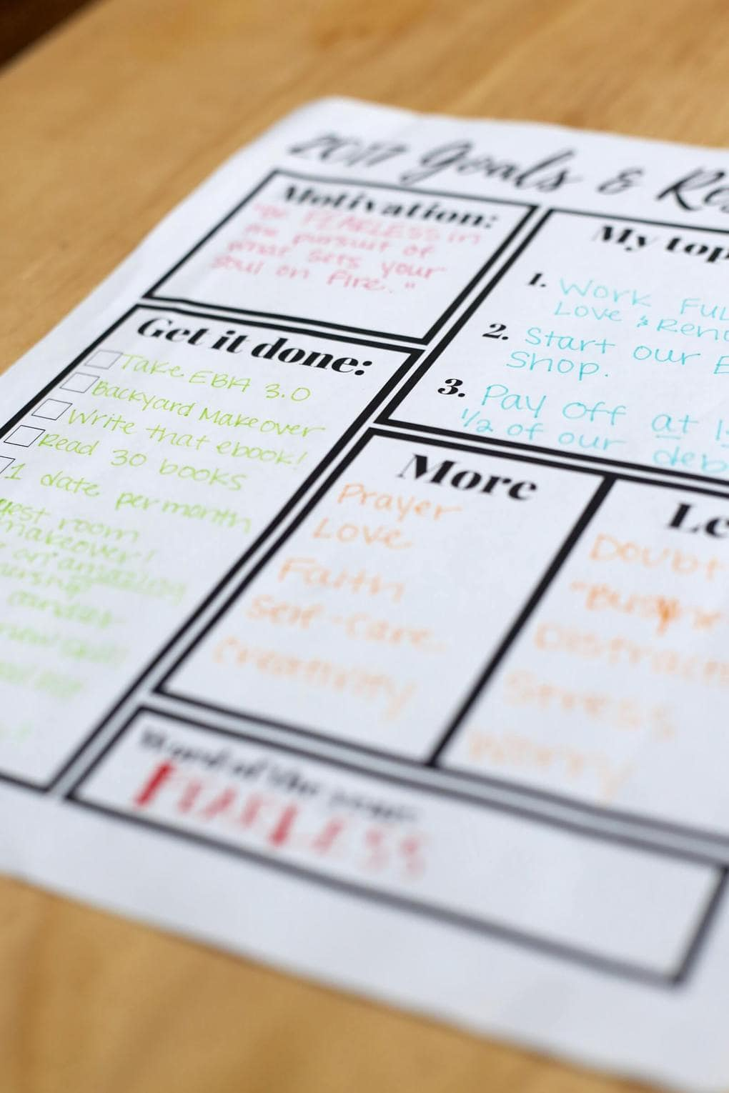 printable goal setting worksheet