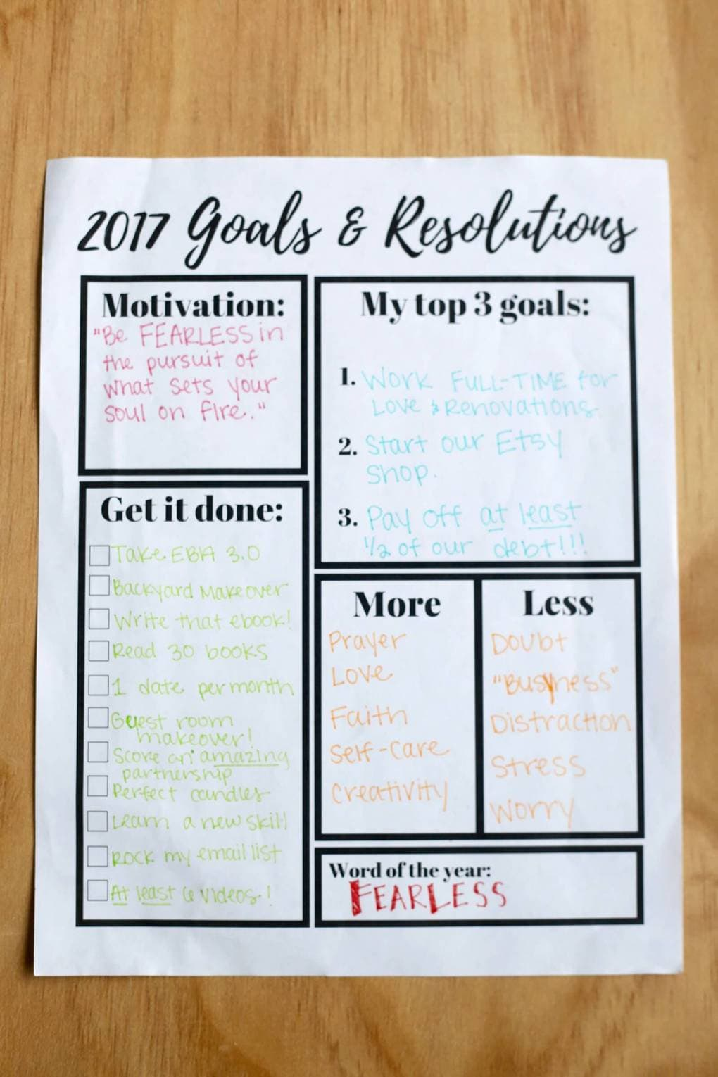 free printable goal setting worksheet