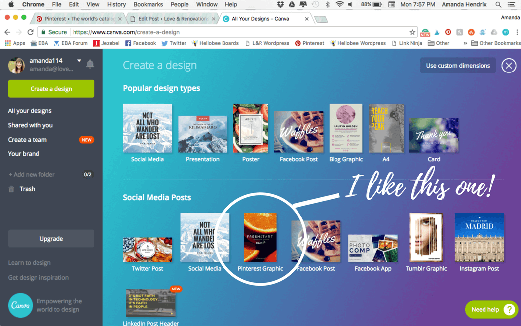 using Canva to create a mood board