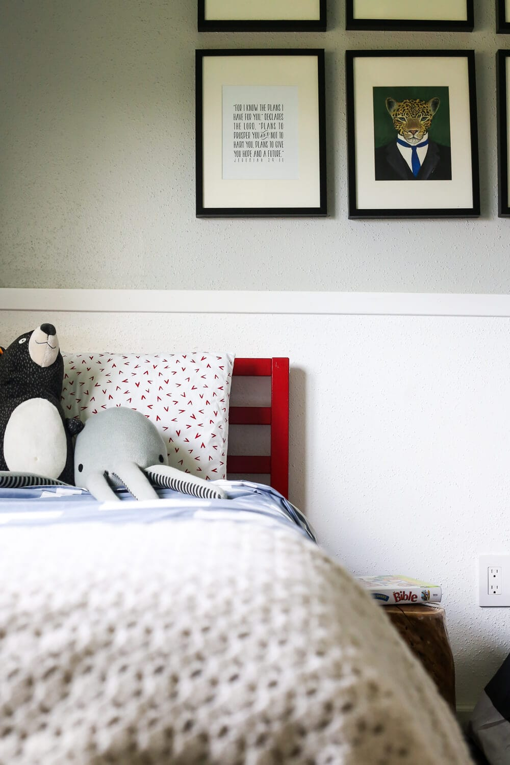 A gender neutral, affordable DIY toddler room makeover. Includes a makeover of an IKEA TARVA bed!