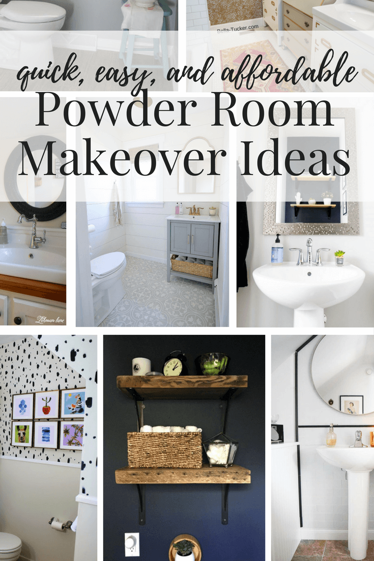 Easy, affordable, DIY powder room makeovers. Great ideas for half bath renovations on a budget!