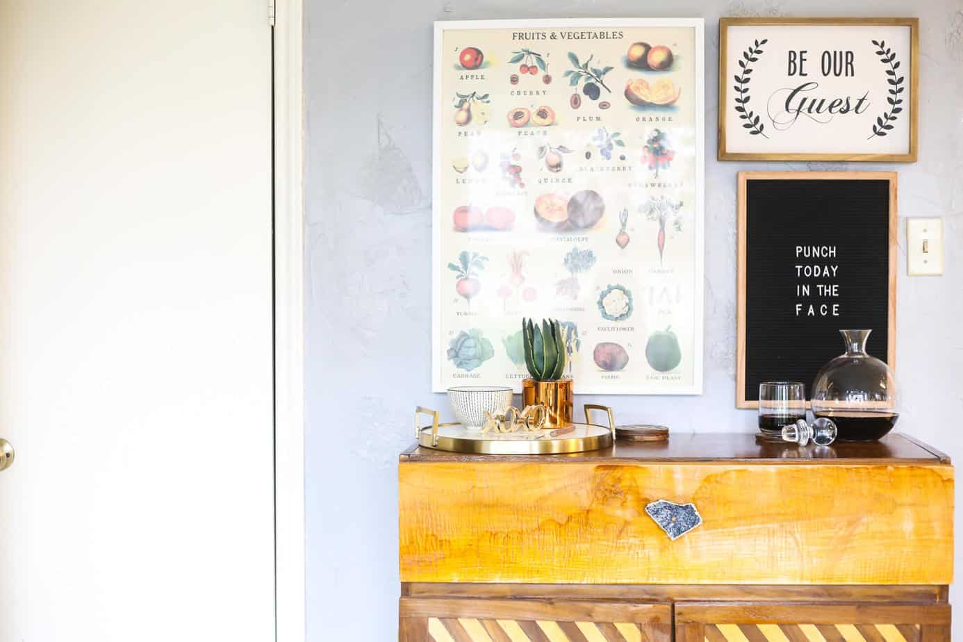 Gorgeous gallery wall inspiration, ideas for what to hang above your bar cart, felt letter board inspiration
