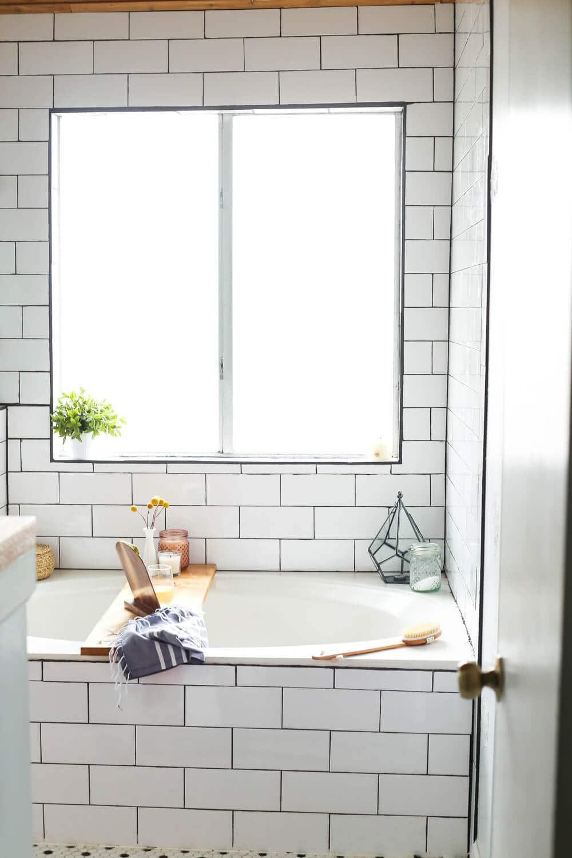 bathtub with a DIY tray
