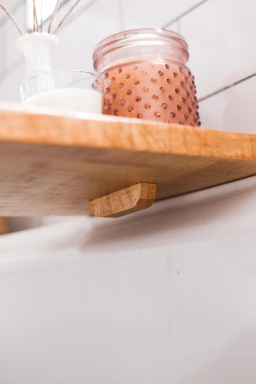 under-side of DIY bathtub tray