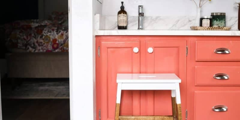 Easy IKEA hack! How to turn this BEKVAM stool into a gorgeous, farmhouse inspired stool for your kitchen, bathroom, or anywhere in the house! Great for kids, and it's gorgeous too!