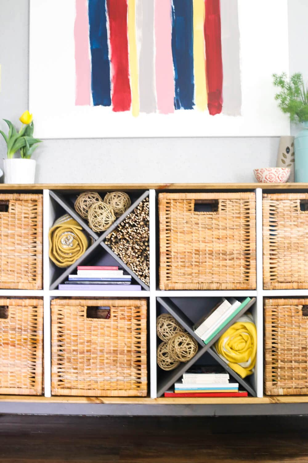 Easy IKEA hack - upgrading the NORNAS sideboard with a rustic, farmhouse feel. So beautiful, and so simple! Plus, great ideas on how to style X wine rack shelves with something other than wine!