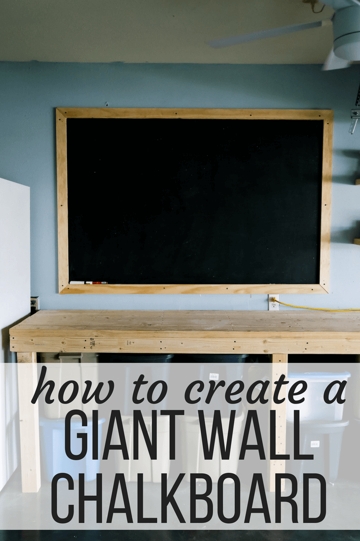 """After photo of a large chalkboard with text overlay """"how to create a giant wall chalkboard"""""""