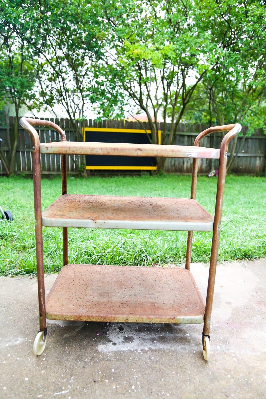 Rusty vintage bar cart